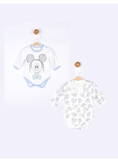 Mickey Mouse Mickey 2'li Uzun Kol Body 17706 Ekru